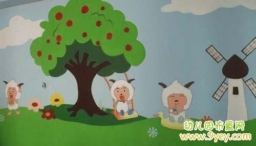 幼儿园卡通壁画 喜羊羊