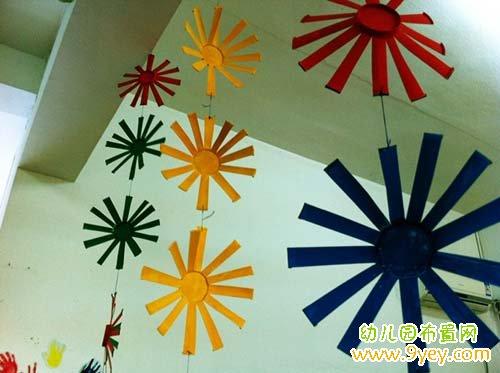 幼儿园精美的手工吊饰制作:圆叶垂帘