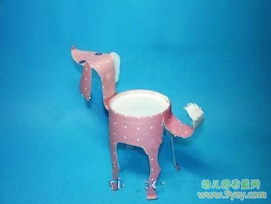 幼儿用纸杯制作的小狗-手工制作