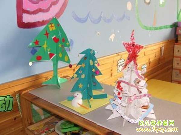 幼儿园圣诞节墙壁贴画:圣诞老人与雪人