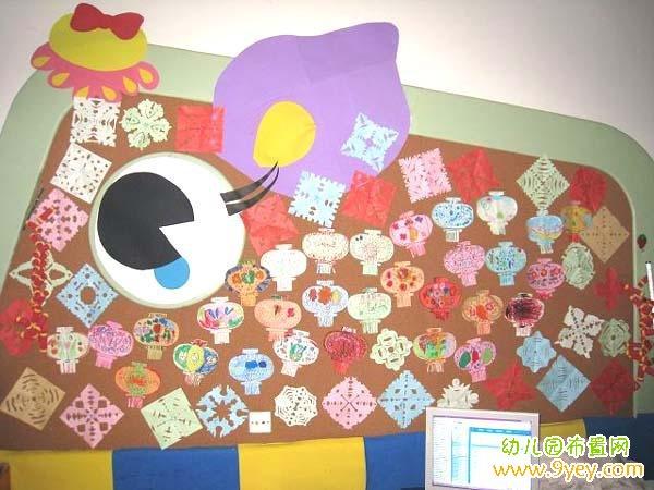 幼儿园中班元宵节墙面手工装饰