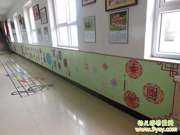 幼儿园活动大厅墙面中国风装饰