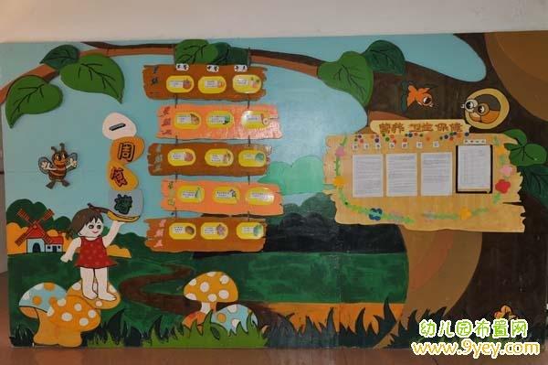 幼儿园漂亮的食谱展板设计