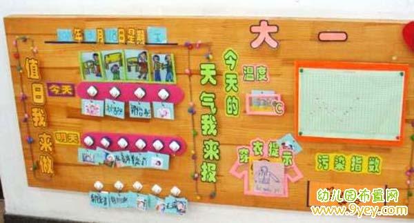 幼儿园大一班值日生和天气预报墙设计