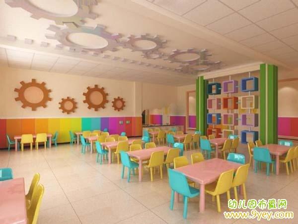 幼儿园食堂设计图片_幼儿园餐厅布置图片