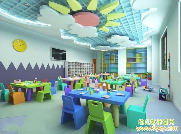 幼儿园教室天花板造型设计案例图片_幼儿园布置网